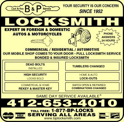 B & P Locksmith Inc - Pittsburgh, Pa. Yellow Pages Ads  Yellow Pages Book Advertising